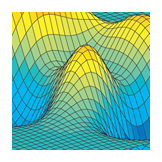 Contour map of 3D surface, Calculus textbook illustration art.