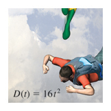 Free falling rate word problem, Calculus textbook illustration art.
