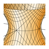 Hyperboloid of one sheet with 3D traces, Calculus textbook illustration art.