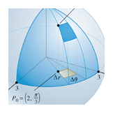 Coordinate on a spherical surface, Calculus textbook illustration art.